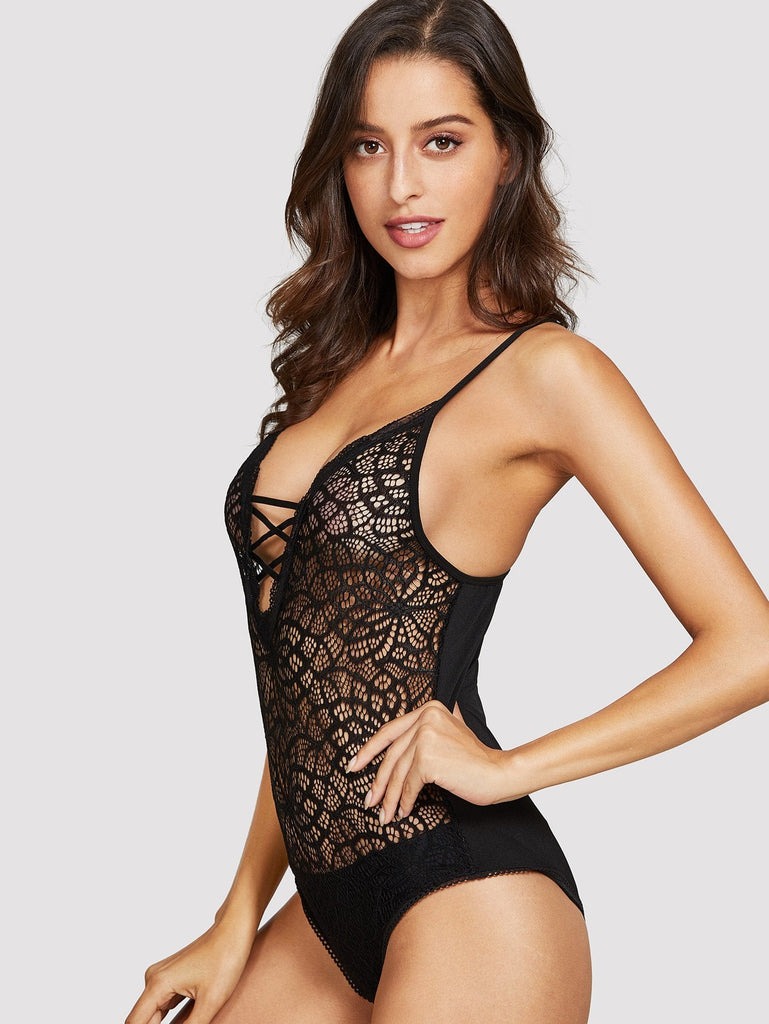 Criss Cross Lace Teddy Bodysuit