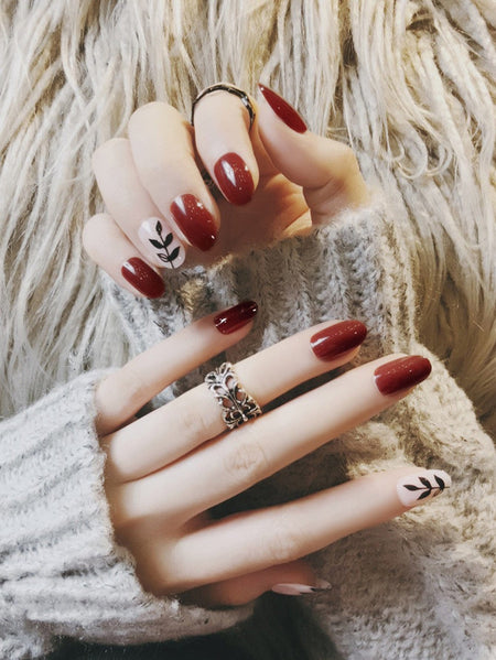 Leaf Pattern & Plain Fake Nails Set 24pcs