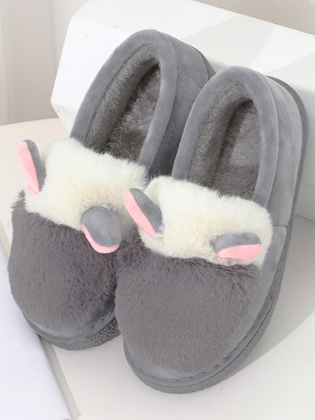 Ear Detail Fluffy Slippers