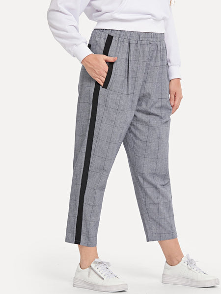 Plus Plaid Tape Detail Tapered Pants