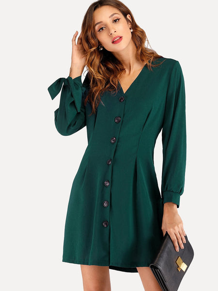 Single Breasted Knot Sleeve Dress