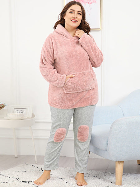 Plus Ears Detail Plush Hoodie & Pants PJ Set
