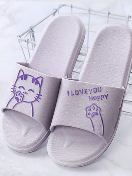 Cat & Slogan Print Slippers