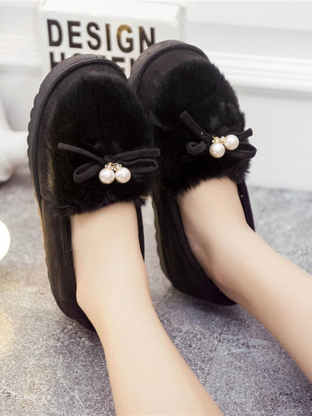 Artificial Pearl Decor Faux Fur Slippers