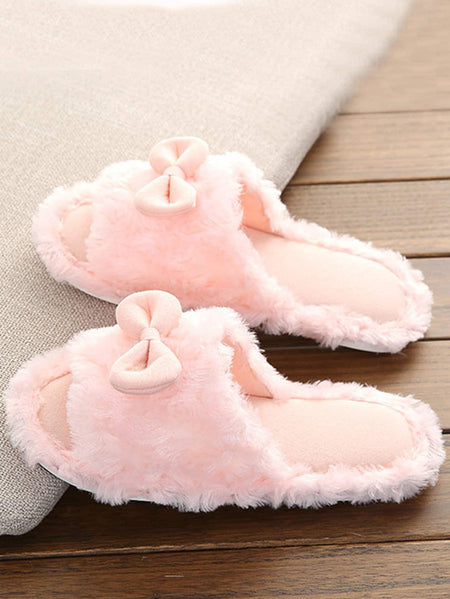 Bow Decor Faux Fur Slippers