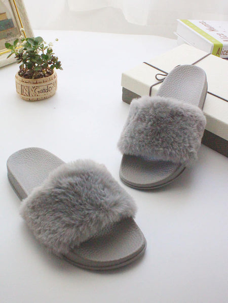 Plain Fluffy Slippers