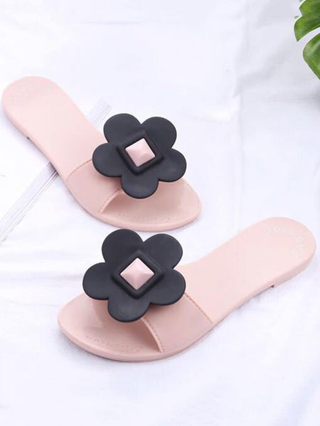 Flower Decor Flat Slippers