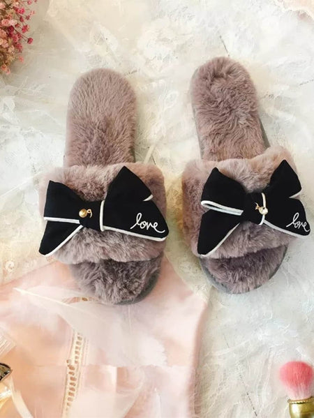 Bow Decorated Fluffy Slippers