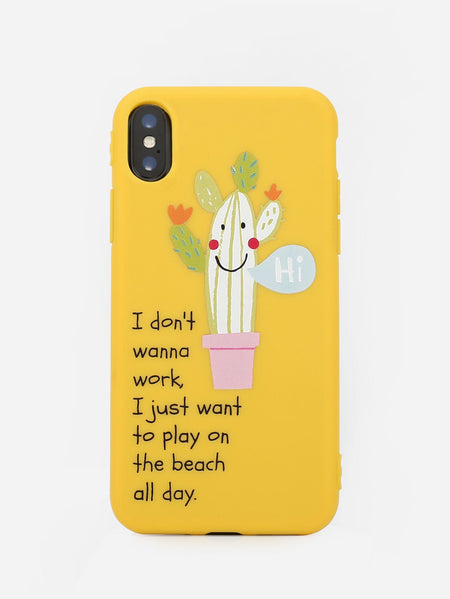 Letter & Cactus Print iPhone Case