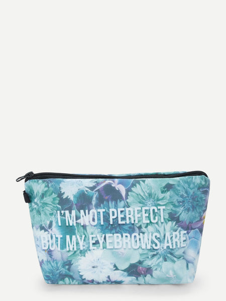 Letter & Flower Print Makeup Bag