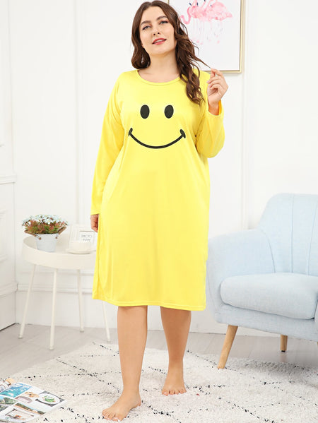 Plus Smile Print Night Dress