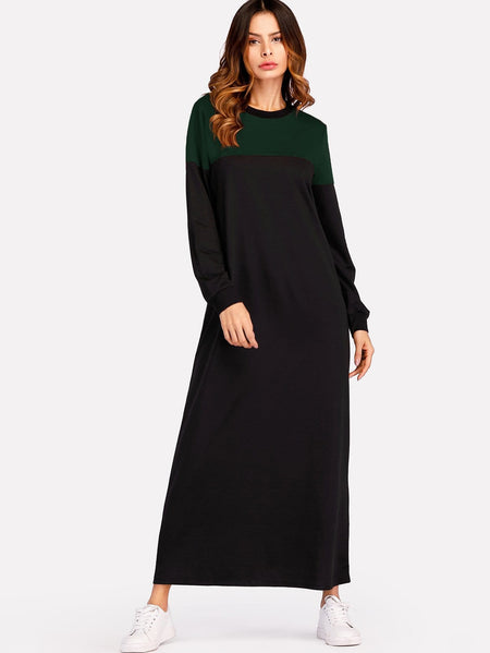 Color Block Sweatshirt Maxi Dress