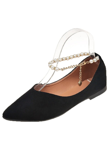 Faux Pearl Decor Suede Flats