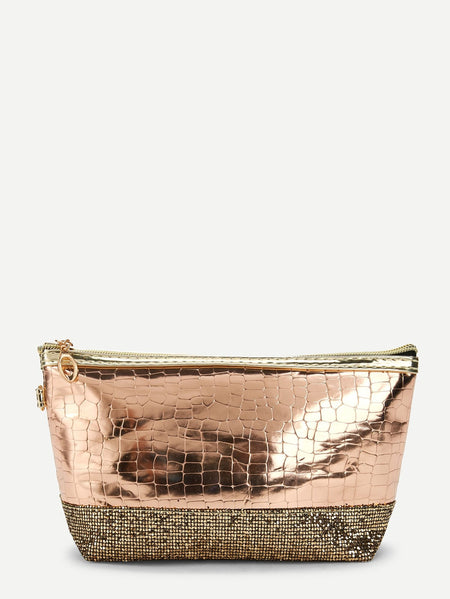 Sequin Decorated Crocodile Pattern Makeup Bag