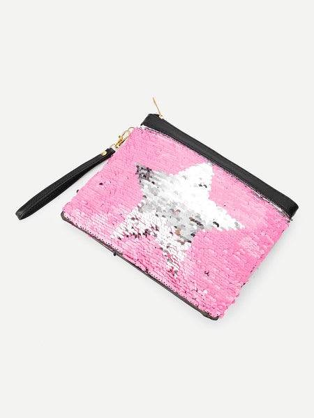 One Side Sequin Cover Reversible Makeup Bag