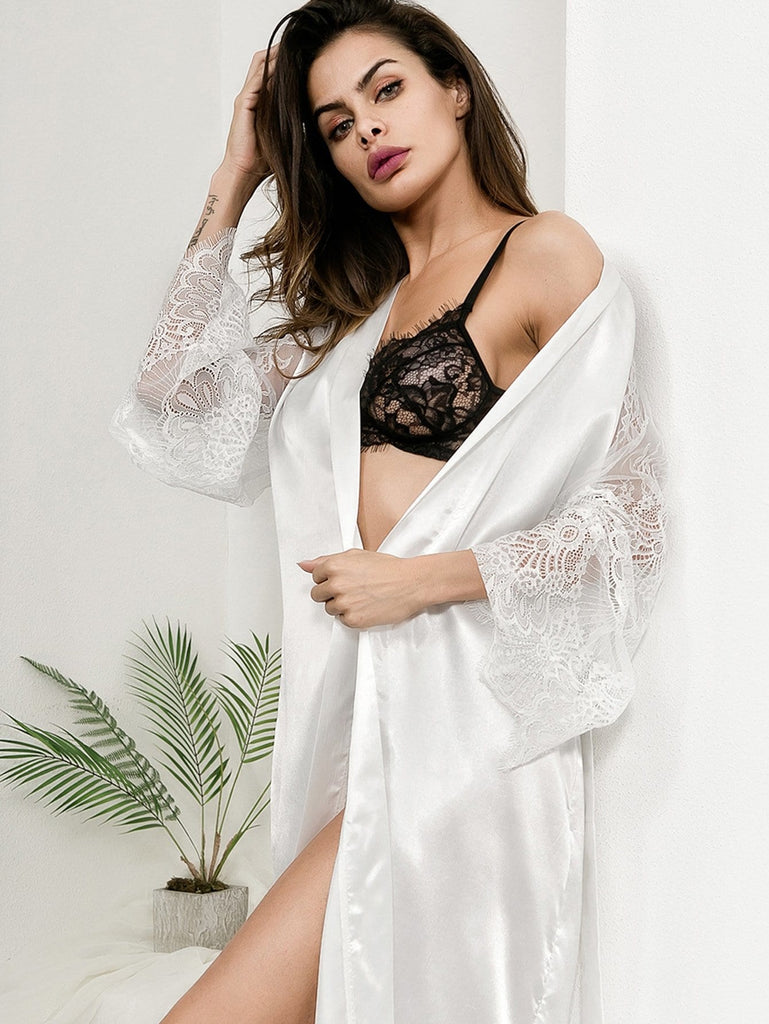 Eyelash Lace Contrast Mesh Self Belted Robe