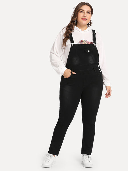 Plus Pocket Front Denim Overalls