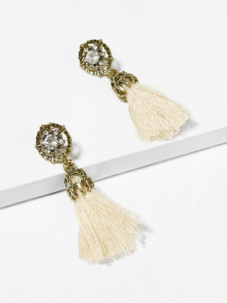 Gemstone Detail Tassel Drop Earrings 1pair