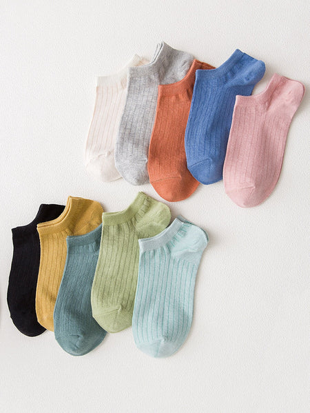 Ribbed Ankle Socks 10pairs