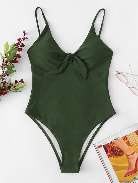 Thin Strap Knot Front One Piece Swimsuit
