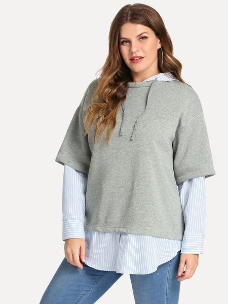 Plus 2 In 1 Striped Sweatshirt