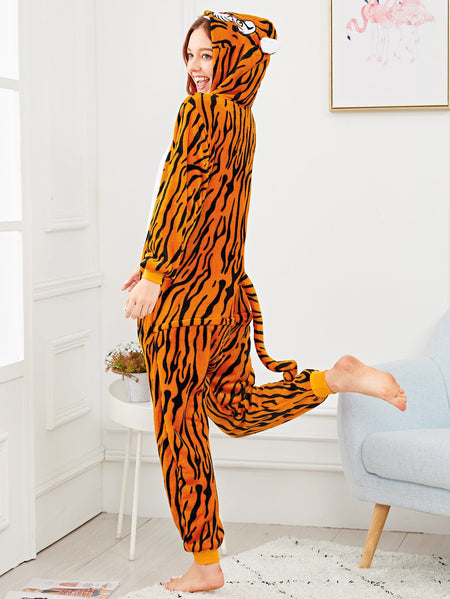 Zip Front Plush Tiger Onesie