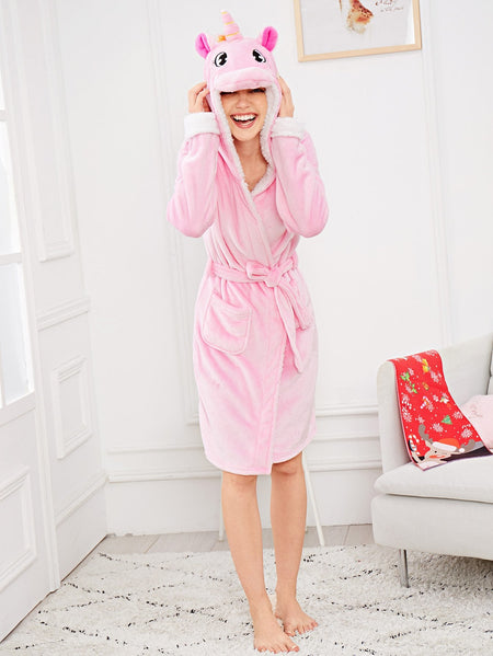 Unicorn Self Belted Hooded Robe