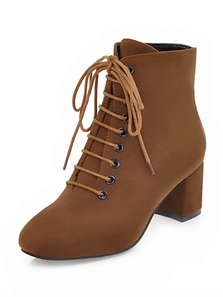 Lace Up Suede Block Heeled Boots