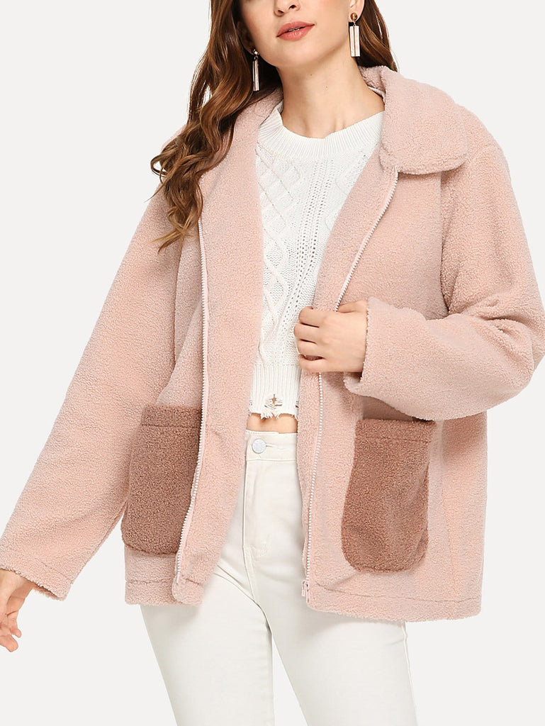 Contrast Pocket Teddy Coat