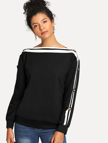 Contrast Striped Button Decoration Sweatshirt