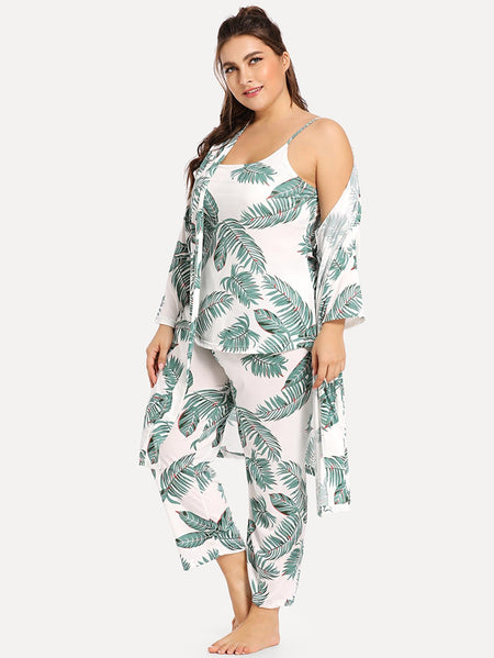 Plus Palm Leaf Cami Pajama Set With Robe