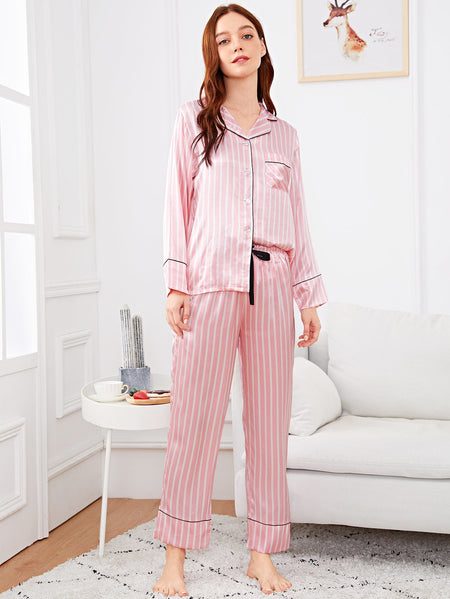 Striped Button Up Pajama Set