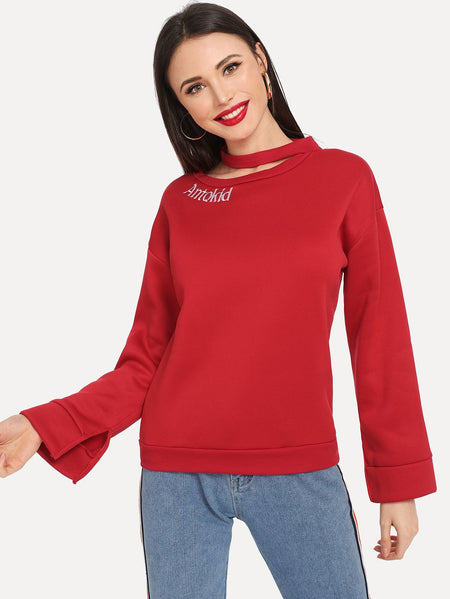Letter Embroidered Split Drop Shoulder Sweatshirt