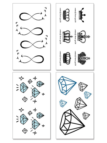 Crown & Solid Crystal Shaped Tattoo Sticker 4pcs