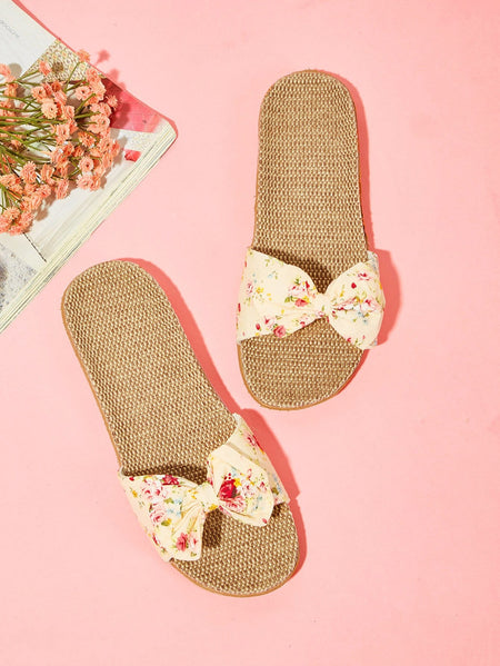 Flower Print Linen Sliders