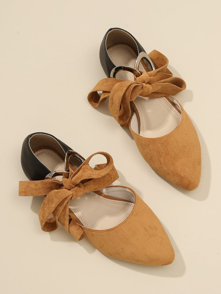 O-Ring Knot Detail Point Toe Flats