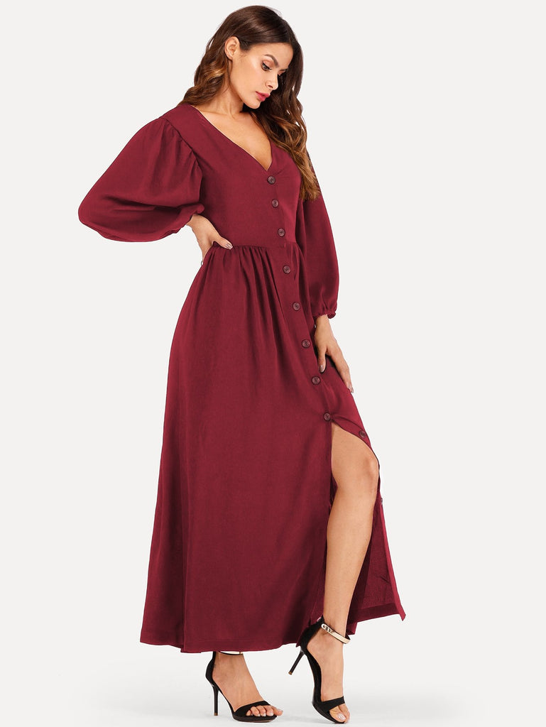 Bishop Sleeve Button Through Maxi Dress