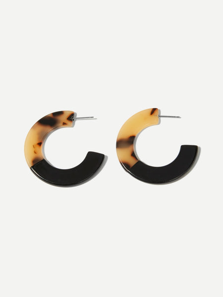 Two Tone Open Hoop Earrings 1pair