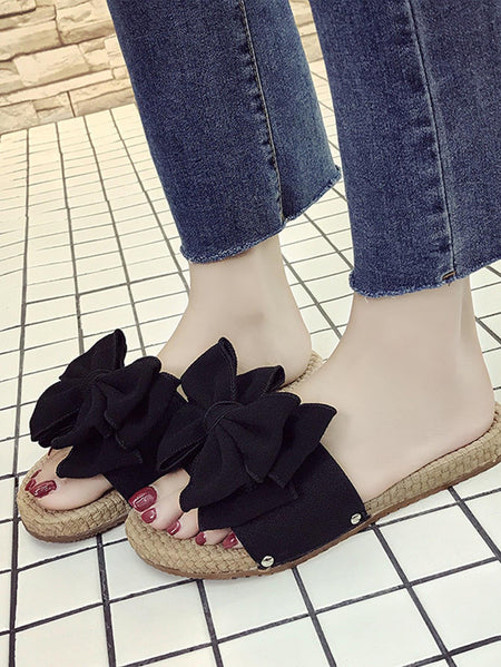 Bow Decor Open Toe Slippers