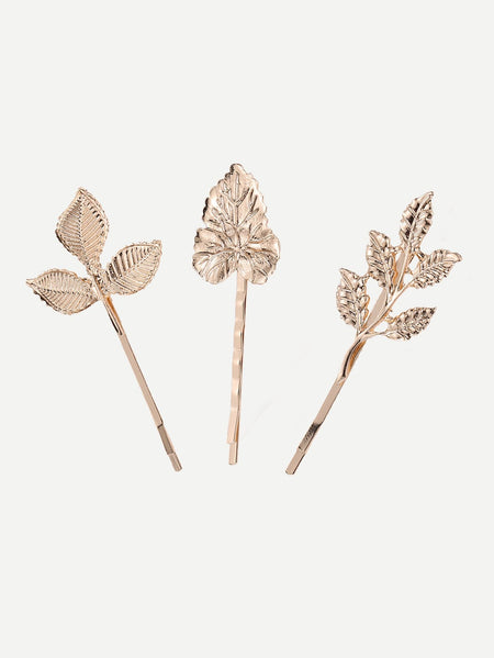 Leaf Shaped Hair Clip 3pcs