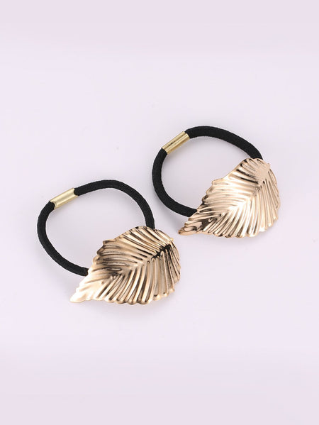 Leaf Decorated Hair Tie 2pcs