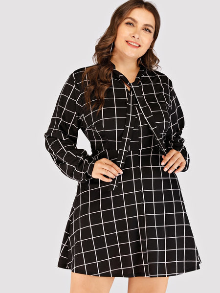 Plus Plaid Knot Dress