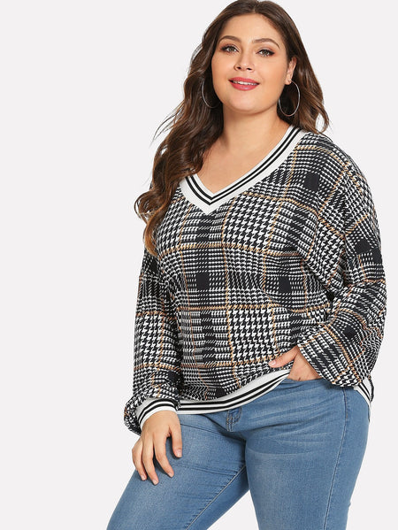 Plus Plaid Print V Neck Tee
