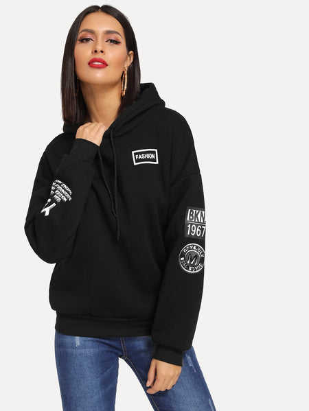 Letter Print Drawstring Drop Shoulder Hoodie