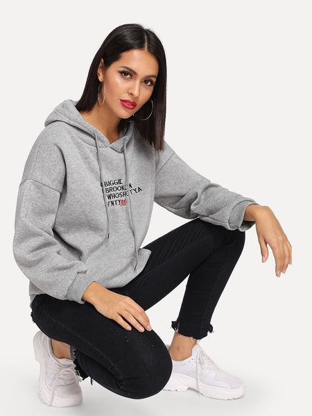 Letter Embroidered Kangaroo Pocket Drawstring Hoodie