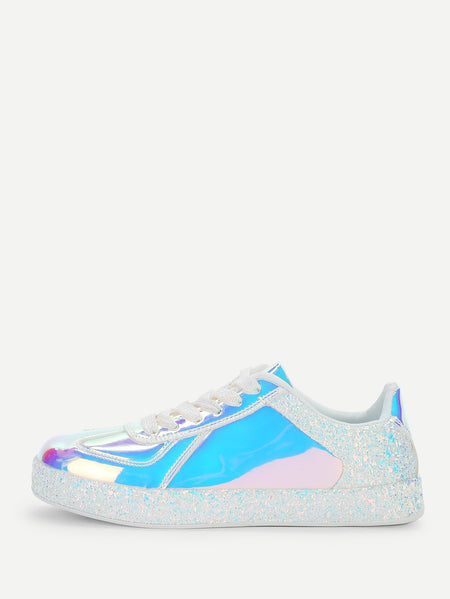 Glitter Detail Iridescence Sneakers