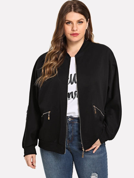 Plus Contrast Sequin Zip Jacket
