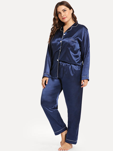 Plus Contrast Binding Button Up Pajama Set