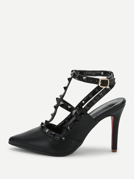 Rivet Detail Ankle Strap Stiletto Heels