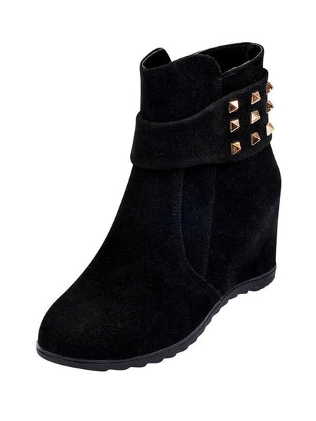 Studded Decor Suede Boots